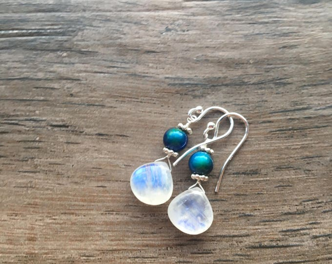 Rainbow Moonstone Mood Bead and Bali Silver Sterling Silver
