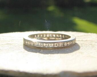 Vintage Carre Cut Diamond Eternity Wedding Band in Platinum, Elegant & Sparkly Diamond Ring, Midcentury - Engraved 1954