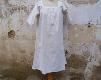 Vintage Antique 1900 French linen dress nightgown / shirt handmade Edwardian embroiderys size S/M/L