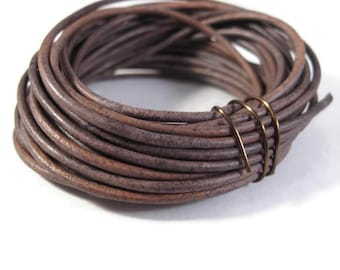 Natural Gray Leather Cord, 2mm, 10.5 Foot Coil of Natural Round Brown Leather for Jewelry Making, Necklace, Wrap Bracelets (L-Mix11d)