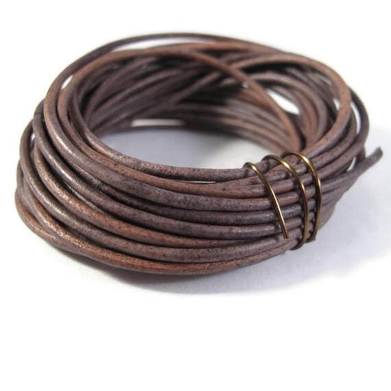 Natural Gray Leather Cord, 2mm, 5 Yard Coil of Natural Round Brown Leather for Jewelry Making, Necklace, Wrap Bracelets, Jewelry Supplies
