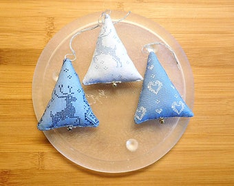 Christmas Trees Ornaments Bowl fillers  Blue Holiday  Decorations FAAPCIJ