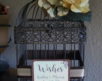 Large Wedding Bird Cage Card Holder - BOHO TAUPE and Brown - Wishes - Birdcage - Birthday - Anniversary - Shower - Flowers - Money Holder