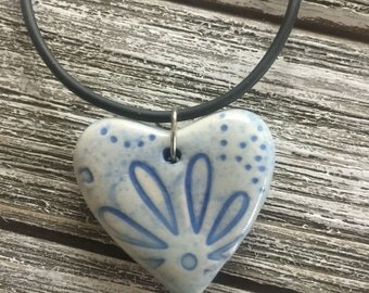 Powder Blue Floral Porcelain Heart Pendant 3