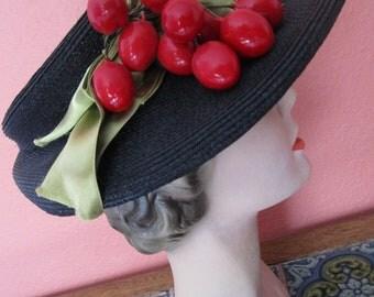 Open Crown Vintage 30s 40s Straw Visor Hat Fruit Green Satin Townsend Chicago