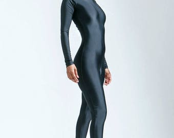 Lightweight Moisture Whicking Black Hoodless Catsuit Great For Hotter Temps and Athletic Use - Free Shipping