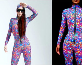 GLOW in the DARK! Psychedelic Rainbow with Glowing Stars Hooded Bodysuit