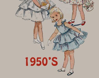 Vintage 1950s Dress or Sundres with Tiered Skirt Sewing Pattern Simplicity 4688 50s Rockabilly Pattern Size 1 Breast 20 UNCUT