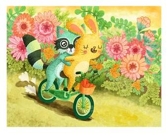 Bike Ride with Friends - Bunny Print Nursery Art Raccoon Art Print Bunny Illustration Gender Neutral Baby Woodland Nursery Art Animal Art