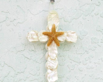 Shell Ornament, Cross Ornament with Shells, Abalone Cross with Starfish, Crucifix Ornament, Religious Christian Gift, New Baby Baptism Gift