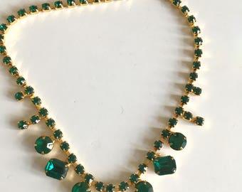 Vintage Green Rhinestone Necklace Choker