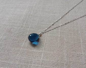Handmade Blue Tear Drop Gemstone Sterling Silver Necklace