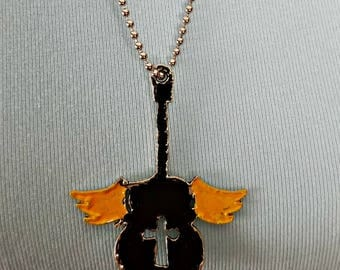 Black winged guitar necklace - guitar pendant on ball chain