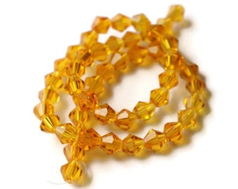 50 6mm Orange Crystal Beads Faceted Bicone Beads Full Strand Spacer Beads