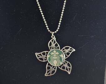 STARBUCKS Large Flower Pendant Necklace - Silver Tone Ball Chain