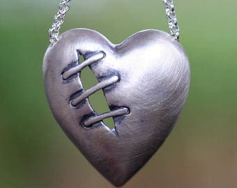 Sutured Heart Necklace Sterling Silver Free Domestic Shipping