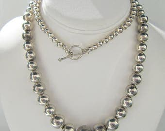 Sterling Silver Graduated Ball Bead Toggle Necklace - 60 Grams - 2475H