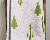 Reserved for Celine, First 50% deposit on a custom, twin size, organic cotton Modern Tree Quilt in Ivory, Green and Grey