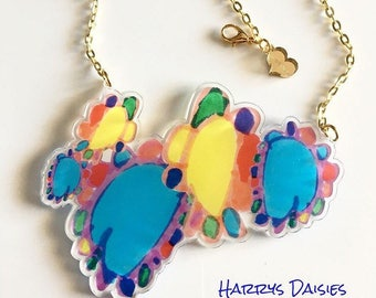 "HARRYS DAISIES  ""darling sweet life"" 2017 laser cut silkscreen print necklace, plexiglass, acrylic, perspex"