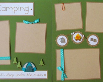 Premade 12x12 Scrapbook Pages -- CAMPING layout -- summer, love to camp, outdoors scrapbooking, boy, girl, family, tent, camp out, vacation