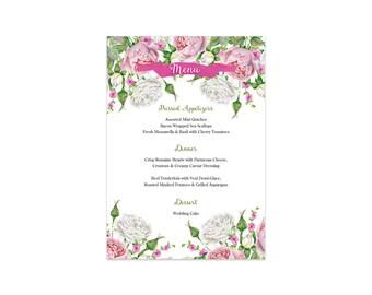PRINTABLE Wedding Menu, Floral Dinner Menu, Wedding Menu, Printable Dinner Menu, Rehearsal Menu, Wedding Dinner, Reception Menu, Shower Menu