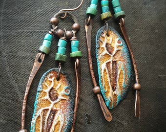 Southwest, Petroglyph, Ceramic, Warrior, Rustic, Tribal, Primitive, Turquoise, Organic, Artisan Made, Primitive Beaded Earrings