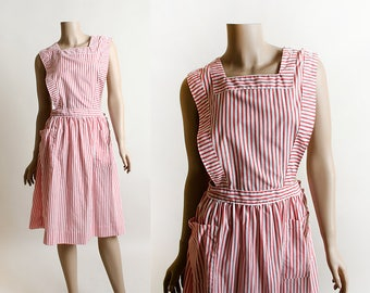 Vintage Candy Striper Dress - Pinafore - Red and White Pin-Striped 1960s Nurse Uniform Halloween Costume - Small Medium
