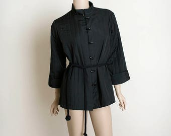 Vintage Chinese Jacket - Black Quilted Style Bamboo Button Up Asian Coat - Knot Dangle Ball Belt - Small Medium
