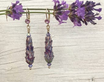 Lavender Glass Bead Dangle Earrings, large
