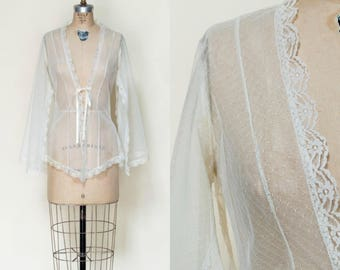 1970s Bed Jacket --- Vintage Cream Lace Top