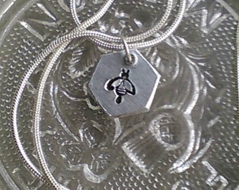 Handstamped Bee Necklace - Manchester Bee -  Solidarity - In Memorial - Charity Fundraiser