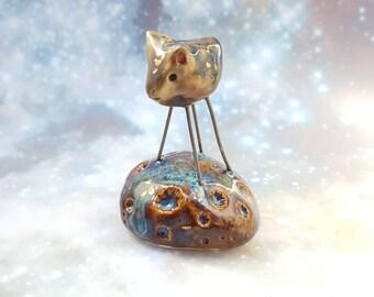 Ceramic Cat Bug Figurine with Gold