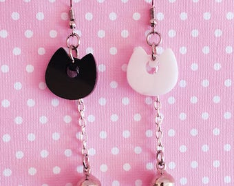 Luna and Artemis Dangle Earrings - Acrylic Charms on Silver Plated Hooks