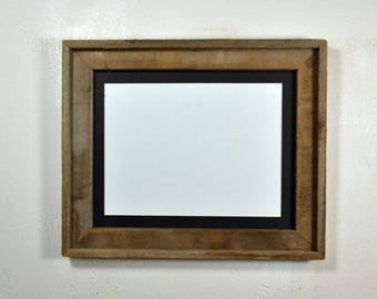 "Rustic style picture frame with 9"" x 12"" black mat complete ready to ship 20 mat colors available"