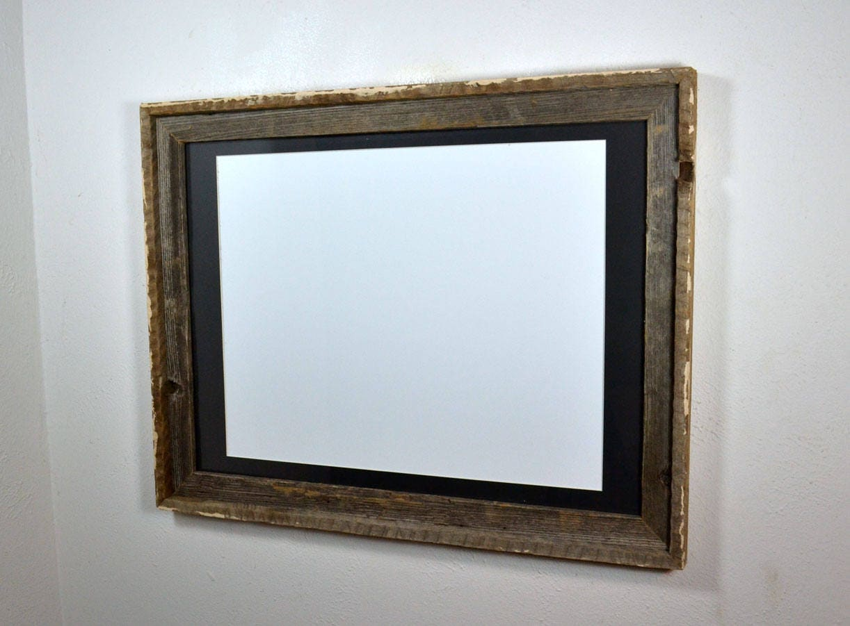 18x24 Shabby Chic Wood Frame With 16x20 Black Mat Make A
