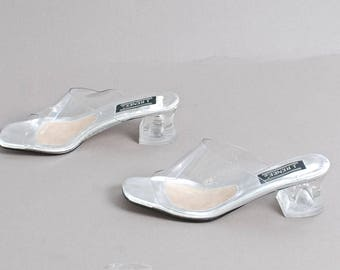 size 9 SILVER clear VINYL 90s slip on MULES high heel sandals