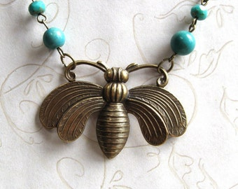 Bumble Bee Necklace, brass bee pendant, turquoise beads, nature inspired, garden jewelry, gardener necklace