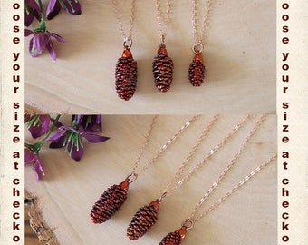 Copper Pinecone Necklace, Small Pinecones, Copper, Real PineCones, Tiny PInecones, Copper Pine Cones, Long Layered Rose Gold Necklace, PC71