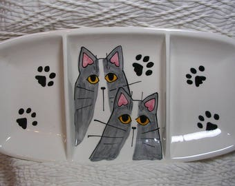Grey Cats On Pottery Dish Three Compartment Dish Handmade by Grace M Smith