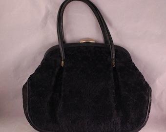 Vintage Black Velvet Flower Design Purse/Handbag with Short Double Handles