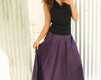 Maxi Silk Wrap Skirt - Made From Hemp Silk Charmeuse - Reversible to show dressy SILK side or matte HEMP side - Adjustable, Versatile Sizes