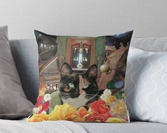 Libra StarCat Decorative Throw Pillow Cover - Astrology Zodiac Art - September October Birthday Gift for the Cat Lover 16x16 18x18 20x20