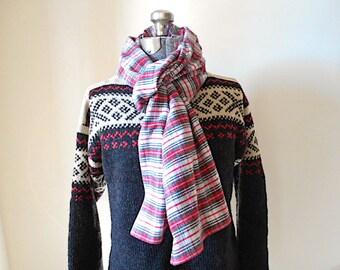 SALE Plaid flannel long scarf - 80s selvedge Stewart tartan cotton - eco vintage fabrics