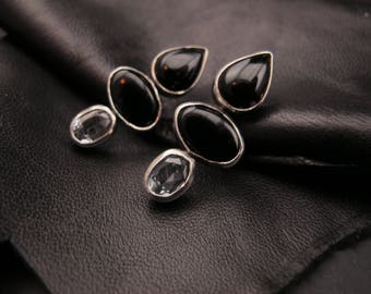 Onyx and Topaz  - One of a kind- Post earrings - Sterling Silver  - Dark jewelry - Black Earrings - Gifts for her -