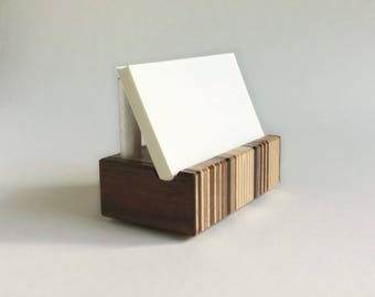 Striped Wood Business Card Holder of Metal and Recycled Wood