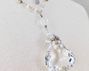 Rock Crystal Necklace - Silverite Necklace - Pyrite Necklace - Labradorite Necklace - Labradorite - Rock Crystal