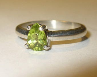 Genuine Peridot Ring in Solid Sterling ~ size 6.5 ~ Natural Mined from Earth Pear-Cut Gemstone