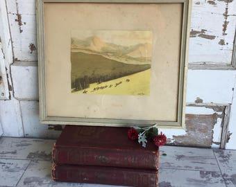 Framed Print - Frederic Mizen Western Mountain Cowboy Frontier Illustration