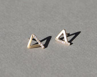 Amanda, triangle diamond earrings, 14k gold earrings with diamonds, solid gold diamond studs, tiny diamond earring studs, micro pave earring