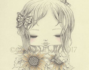 Sunflower Girl Drawing, Girls Wall Art, Summer, Butterflies, Nursery Art, Sunflowers, Girls Room, Graphite, Colored Pencil, Portrait, Pencil